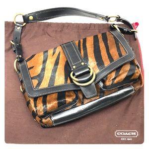 Coach calf hair shoulder bag in tiger print